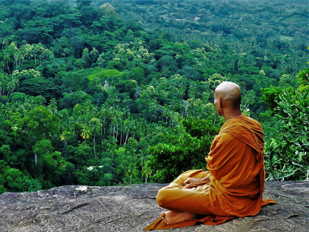 rock temple monk